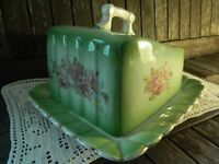 Antique Cheese Dish with Lid Handpainted Green/Pink/Floral with Scalloped Design