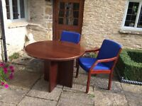 SMALL OFFICE TABLE AND 4 MATCHING CHAIRS