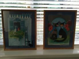 Two pretty pictures of cats in a wooden frames, in excellent condition. £10 for both