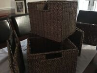 Wicker storage baskets - foldable when not in use x 6