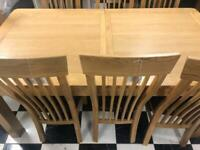 Solid oak table and 6 chairs new
