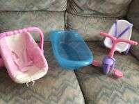 Child's toy doll tricycle, bath and carrier suitable for the smaller baby dolls