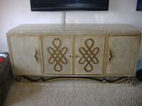 A STUNNING MARBLE SIDEBOARD WITH MATCHING GLASS DINING TABLE 4 CHAIRS LARGE COFFEE