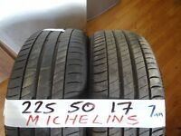 4x 225 50 17 MATCHIN MICHELINS £120 supp & fittd 4x 215 45 17 CONTIS £120 OPEN SAT & SUN ALL DAY