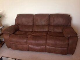 2 Three Seaters and One Armchair Faux Suede Reclining Suite