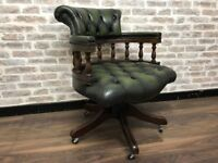 Antique Green Leather Captains Chair
