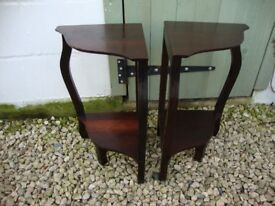Pair Of Mahogany,Corner,Plant Stands.