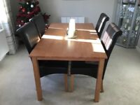 Dining table and 4chairs, seats 6.