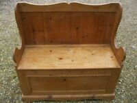 MONKS BENCH. PINE SETTLE WITH STORAGE. Delivery poss. Also : CHURCH PEWS, OAK TABLE & CHAPEL CHAIRS