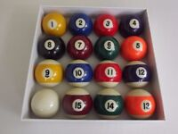 """pool balls and triangle 15 2"""" competition/match balls"""