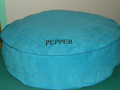 "DOG BED BLUE CORDUROY PERSONALIZED ROUND 28"" WITH LINER Embroidered Pet's Name !"