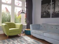 Blue DFS 3 Seater Sofa & Green DFS Armchair Suite