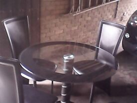 Table (glass top) & 4 Chairs