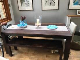 Solid hardwood stunning table and benches