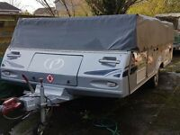 Conway Crusader Platinum 2010, 6 berth folding camper with full awning and underbed skirts.