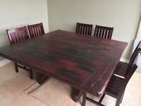 Solid Teak Table with chairs made from African sleepers