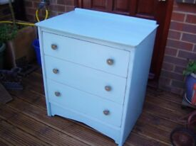 VINTAGE CHEST OF DRAWERS PAINTED BLUE CHALK PAINT VGC