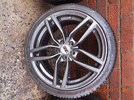 "4 x 17"" DRG Graphite Gunmetal Alloys with tyres (205x40) - 5 studs"