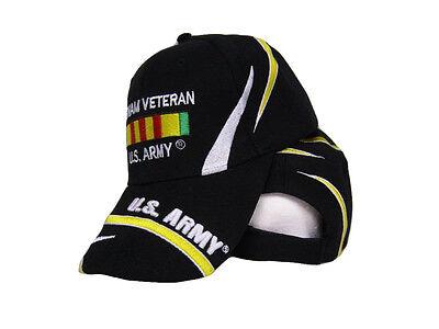 U.S. Army Vietnam Vet Veteran Ribbon Black Embroidered Ball Cap Hat USA