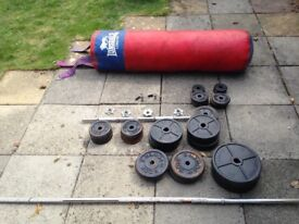 Punch bag and weights £75