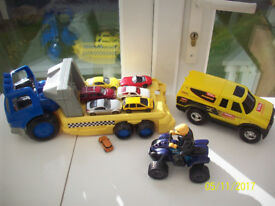 5 TOY VEHICLES BUNDLES/SETS,WITH DICKIES QUAD BIKE,TONKA TRUCK,TOYOTA,TOOT TOOT,FISHER PRICE ETC