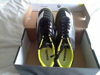 Brand new Mens black Diadora trainers, boxed with labels size 8, lime green trim.