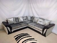 SHANNON CORNER OR 3+2 SEATER SOFA IN BLACK/SILVER | EXPRESS DELIVERY ALL UK | 1 YEAR WARRANTY
