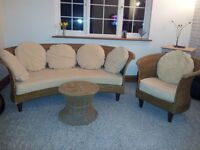 CONSERVATORY SOFA ARMCHAIR AND COFFEE TABLE