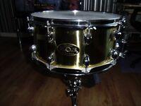 premier artist 14x6.5 10 lug brass snare drum