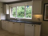 Painted, quality wood kitchen with black granite worktop for sale, includes wine rack & mix units