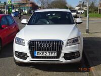 Audi Q5 , white with leather seats, satnav, parking sensors, aircon and cruise control