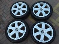 """17"""" 5x100 AUDI S3 ALLOYS WITH TYRES - ALSO FITS GOLF MK4 - SKODA VRS - CUPRA R - 1.8T - MODIFIED"""