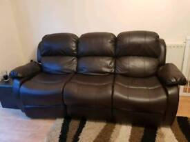 3 seater Recliner Faux leather sofa