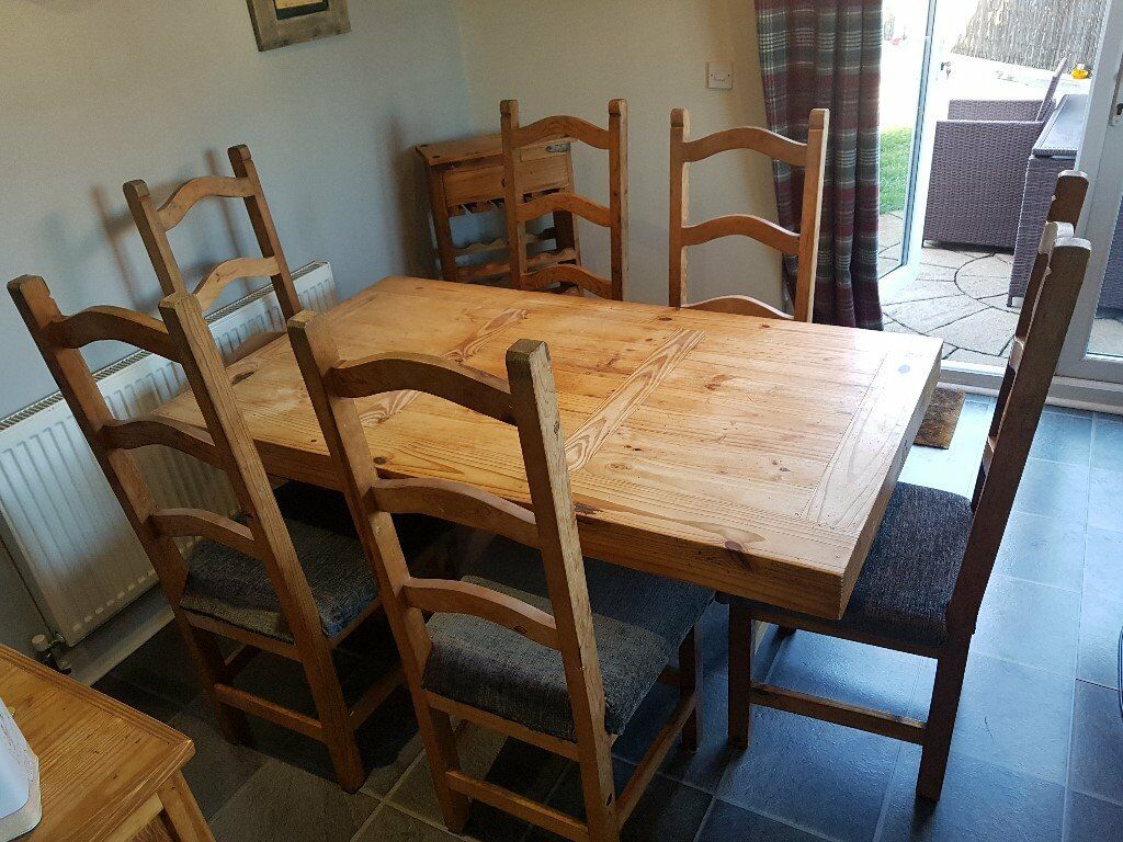 Mexican Pine Dining Table And 6 Chairs Sideboard And Wine Rack