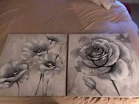 2 Grey Floral Picture Canvases