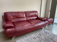 Red Leather 3 Seater Sofa and Footstool