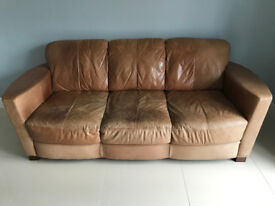 3 Seater Brown Leather Sofa - from DFS