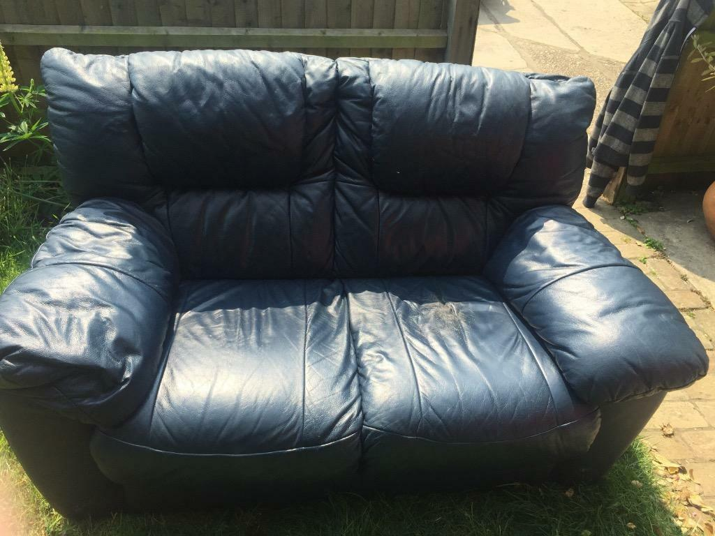 Navy blue leather 2 seater sofa in beccles suffolk for Blue leather reclining sofa