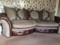 Curved Sofa Brown Faux Leather With Hard Wearing Fabric