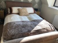 Beautiful velour double sleigh bed frame