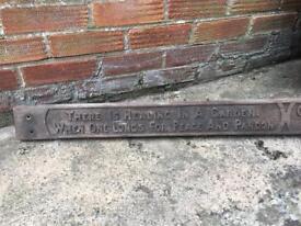 Antique wooden oak garden religious sign plaque