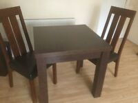 Extendable Dining table and 2 chairs, excellent condition