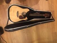 Ashton electro acoustic guitar/built-in tuner and hard case in perfect condition