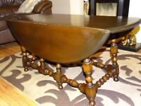 Vintage Ercol Fold Down Oval Coffee table / Side Table - Elm Wood - Great Condition