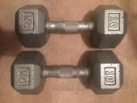 10kg iron dumbbelss. X2