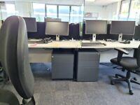 10 White 160cm single office desks/table/computer desks with cable management ports