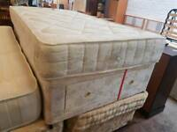Three quarter mattress and divan base with drawer storage