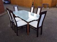 Ikea Frosted Glass & Solid Wood Table & 6 Designer Effezetta Chairs FREE DELIVERY 0198