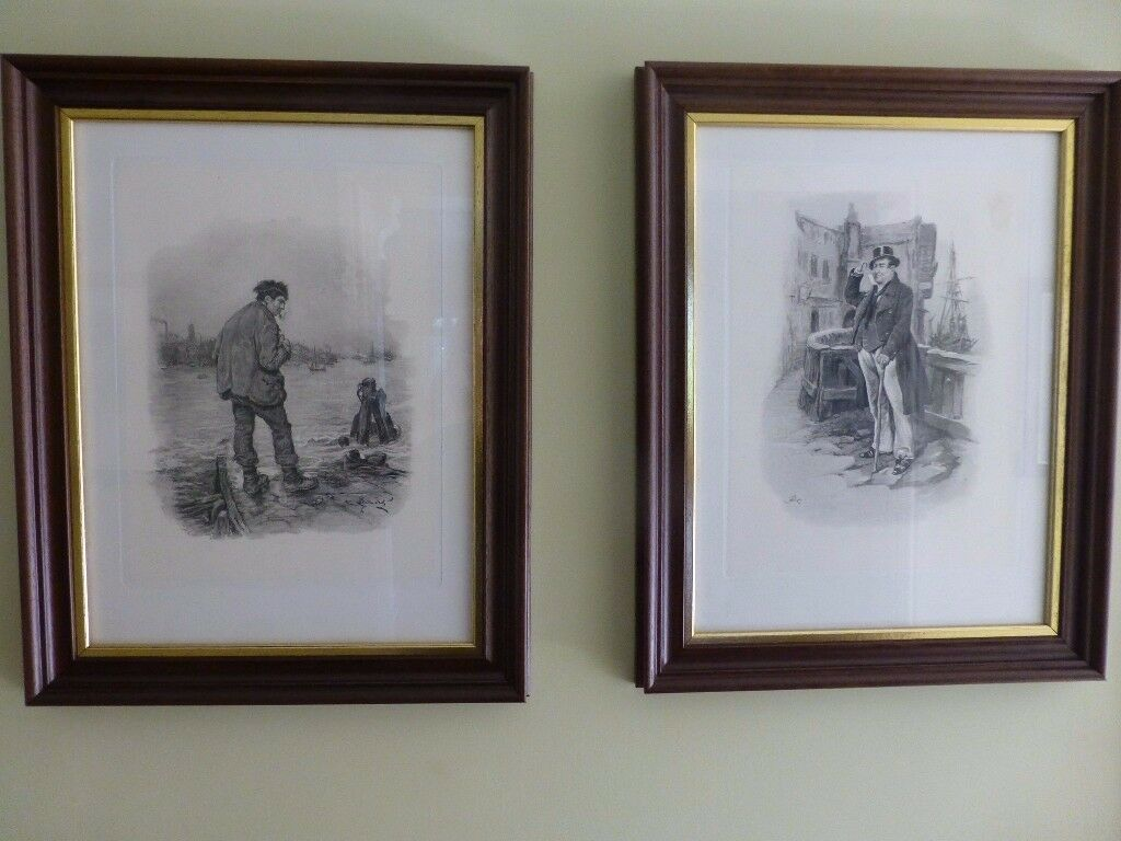 Set of 6 framed Dickens Prints dating from 1890
