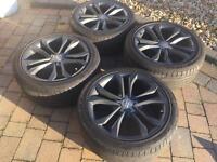 """Genuine OEM Audi TT TTS Twin 5 Spoke 9 x 18"""" ET52 Alloy Wheels & Tyres"""